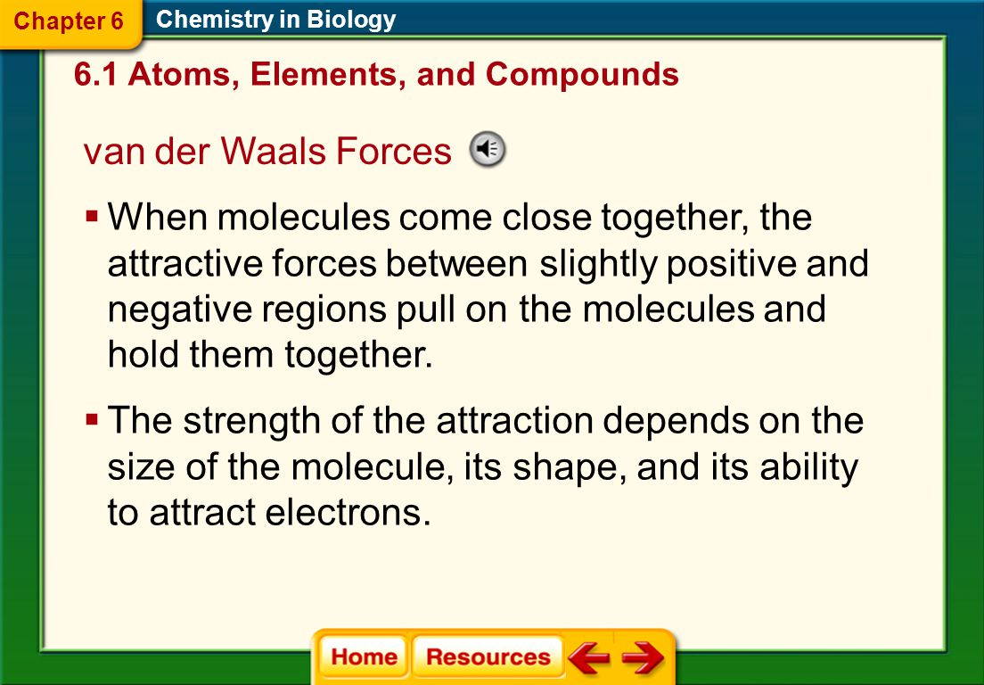Chapter 6 Chemistry in Biology. 6.1 Atoms, Elements, and Compounds. van der Waals Forces.