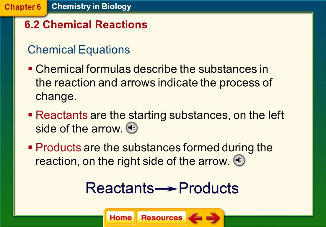 Reactants are the starting substances, on the left side of the arrow.