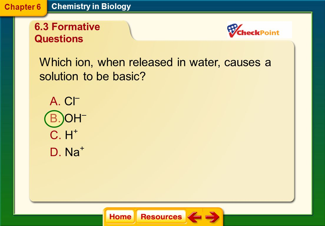 Which ion, when released in water, causes a solution to be basic