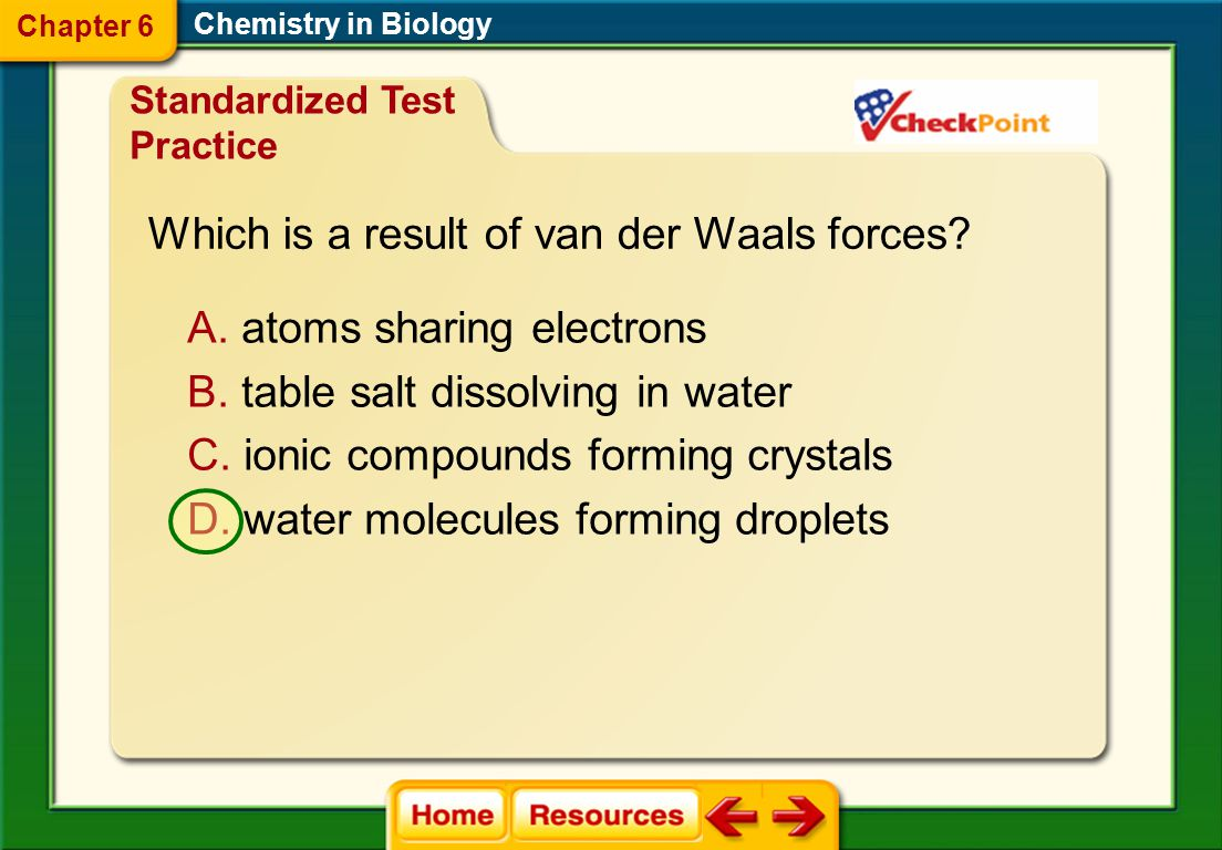 Which is a result of van der Waals forces
