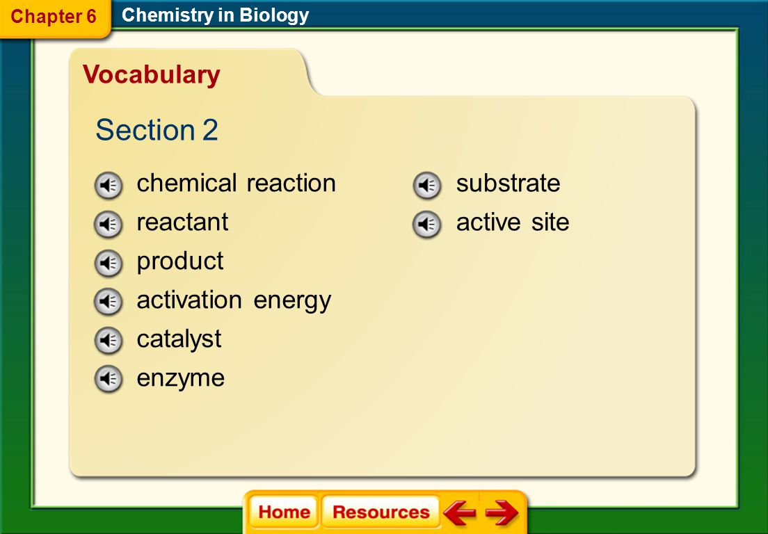 Section 2 Vocabulary chemical reaction reactant product