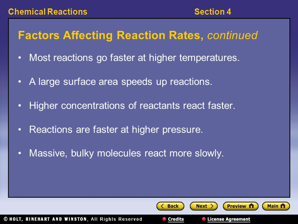 Factors Affecting Reaction Rates, continued