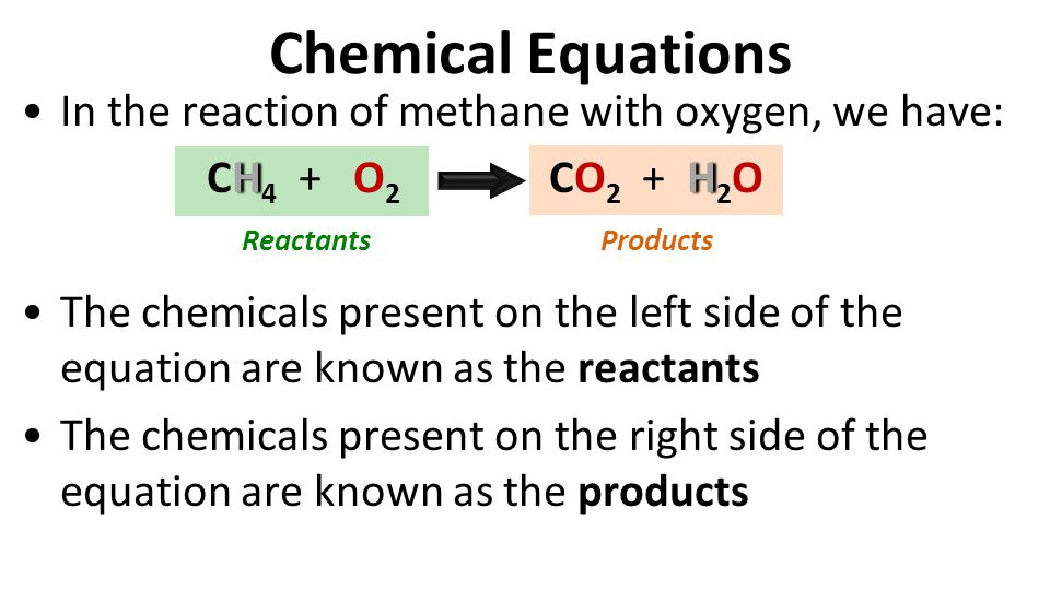 Chemical Equations In the reaction of methane with oxygen, we have: