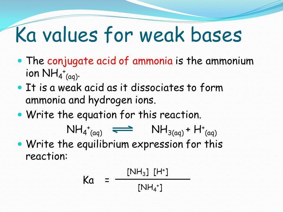 Ka values for weak bases