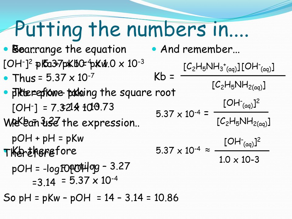 Putting the numbers in.... So .... Thus Kb therefore = antilog – 3.27