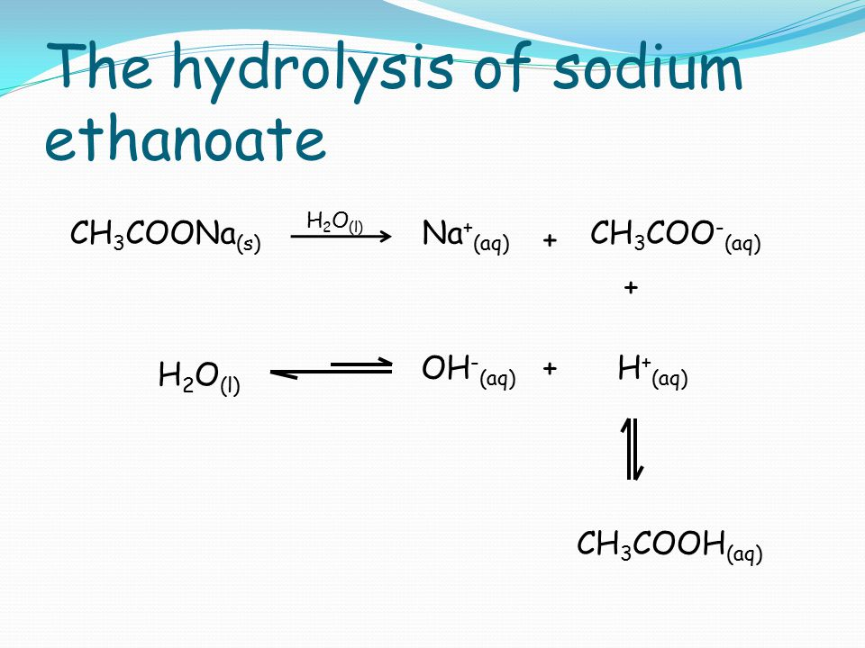 The hydrolysis of sodium ethanoate