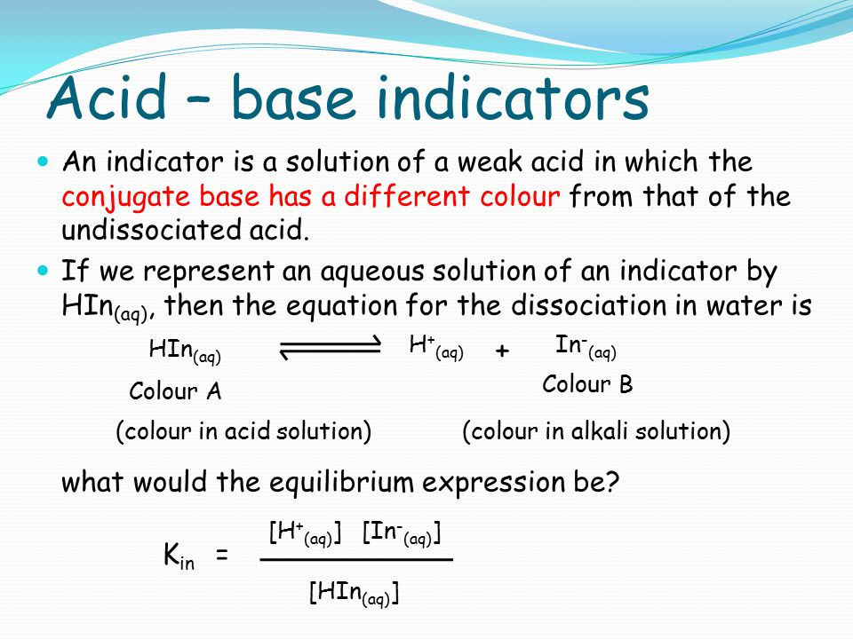 Acid – base indicators what would the equilibrium expression be +