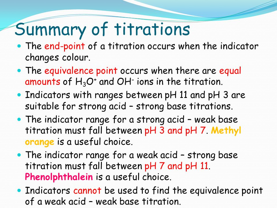 Summary of titrations The end-point of a titration occurs when the indicator changes colour.