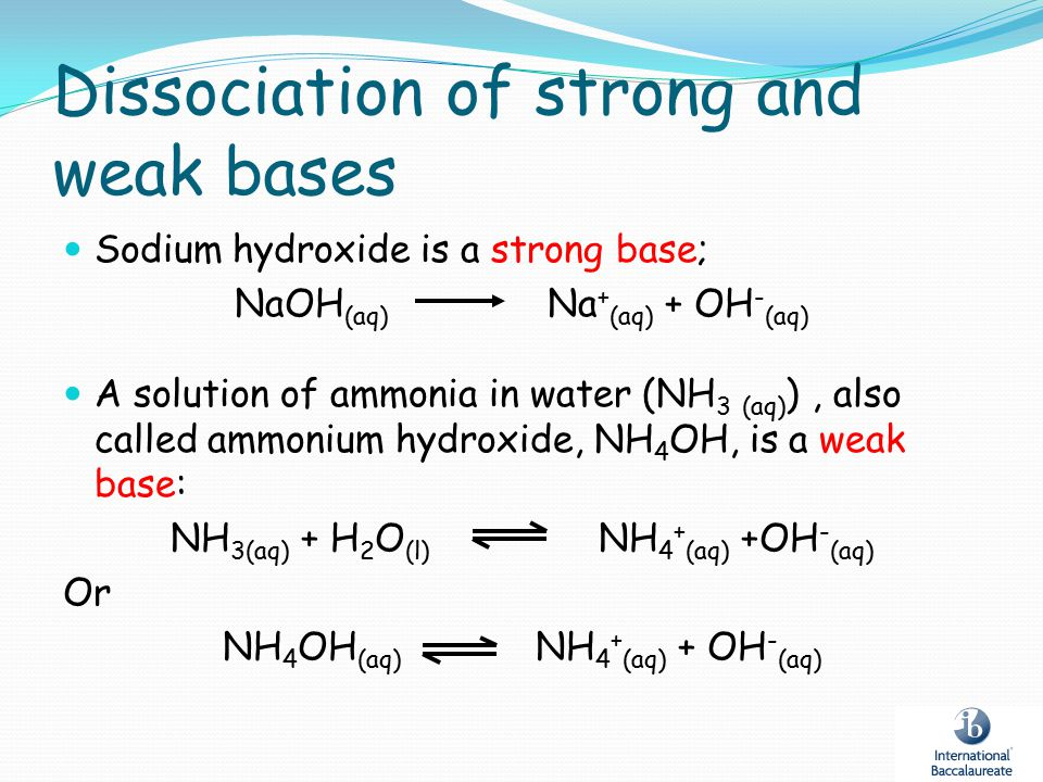 Dissociation of strong and weak bases