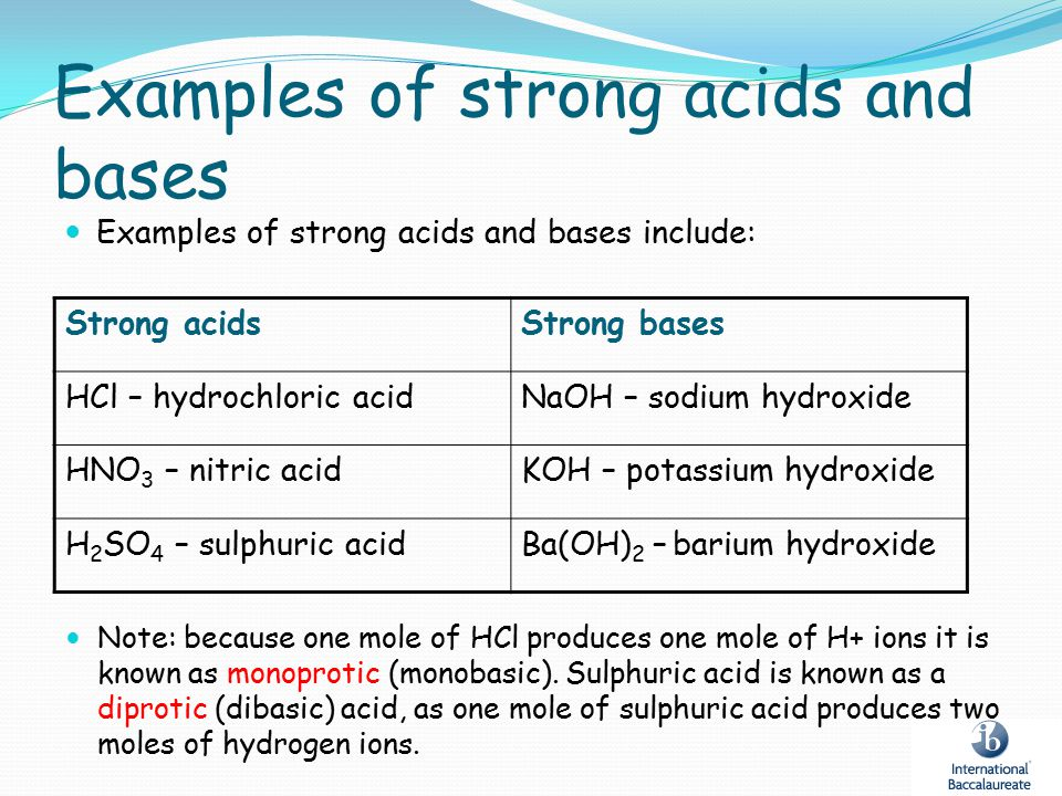 Examples of strong acids and bases