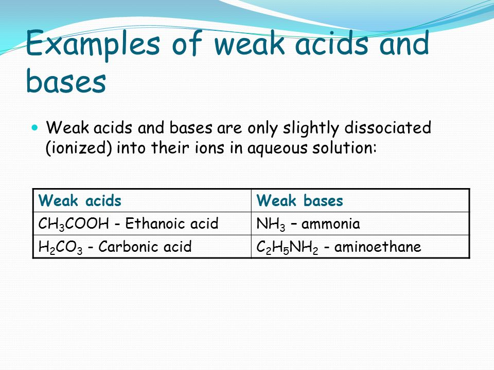 Examples of weak acids and bases