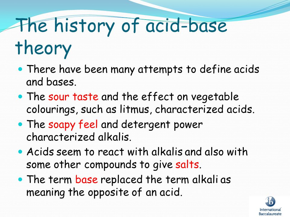 The history of acid-base theory