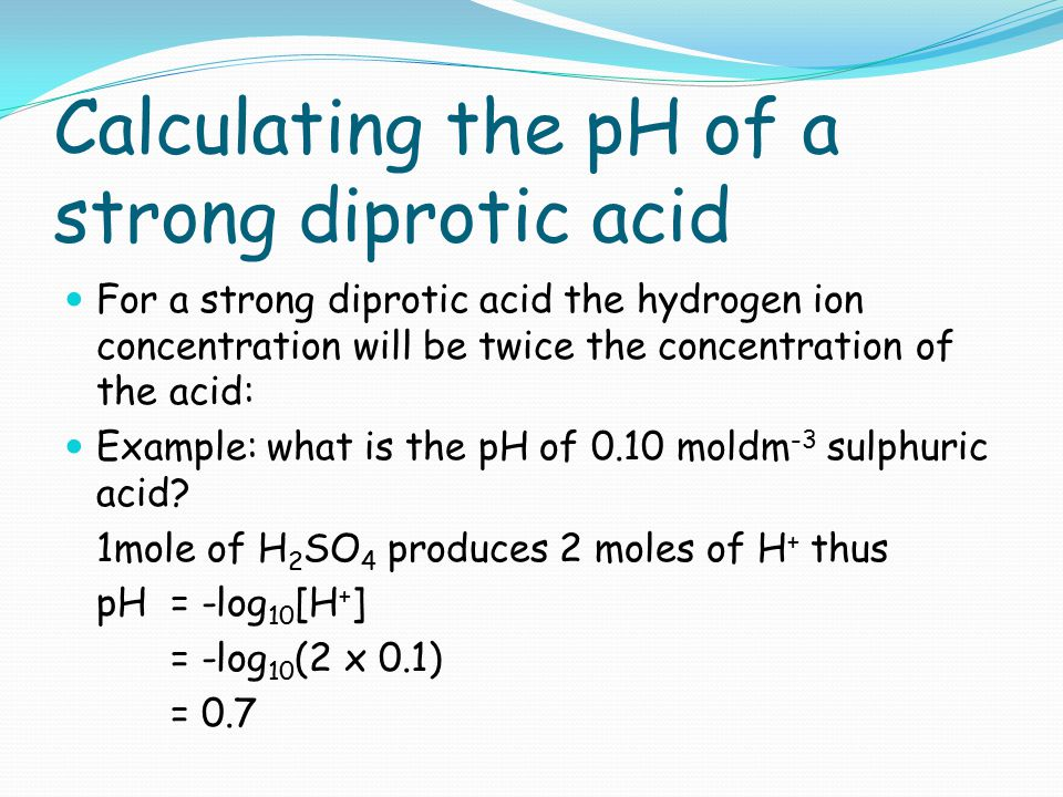 Calculating the pH of a strong diprotic acid