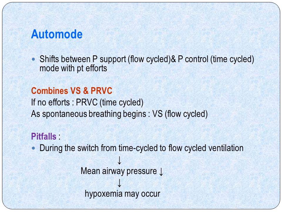 Automode Shifts between P support (flow cycled)& P control (time cycled) mode with pt efforts. Combines VS & PRVC.