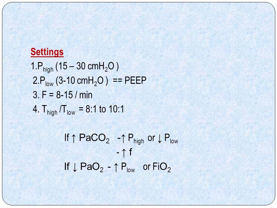 Settings 1. Phigh (15 – 30 cmH2O ) 2. Plow (3-10 cmH2O ) == PEEP 3