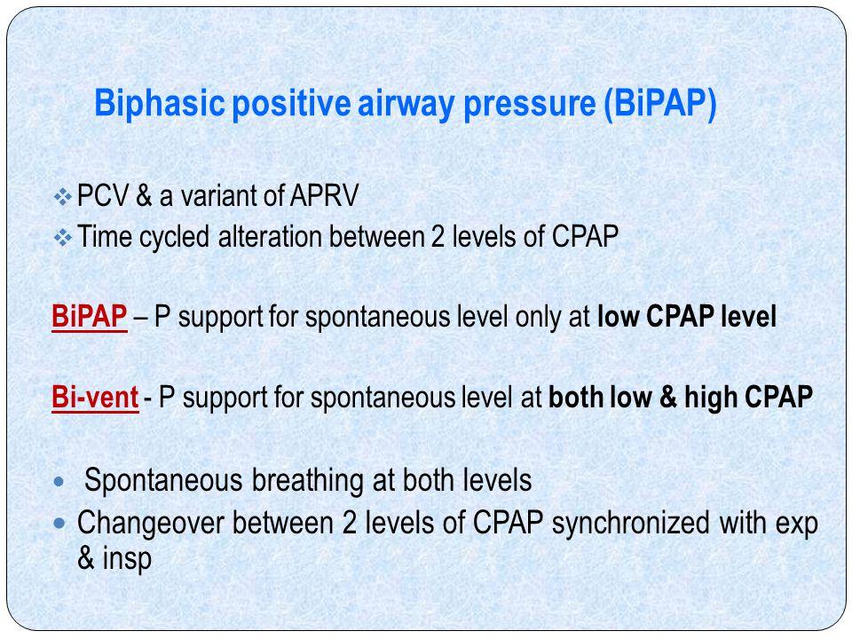 Biphasic positive airway pressure (BiPAP)