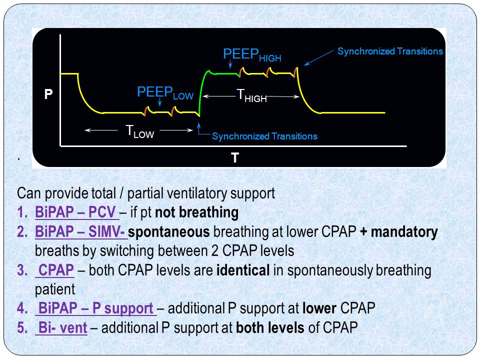 . Can provide total / partial ventilatory support. BiPAP – PCV – if pt not breathing.