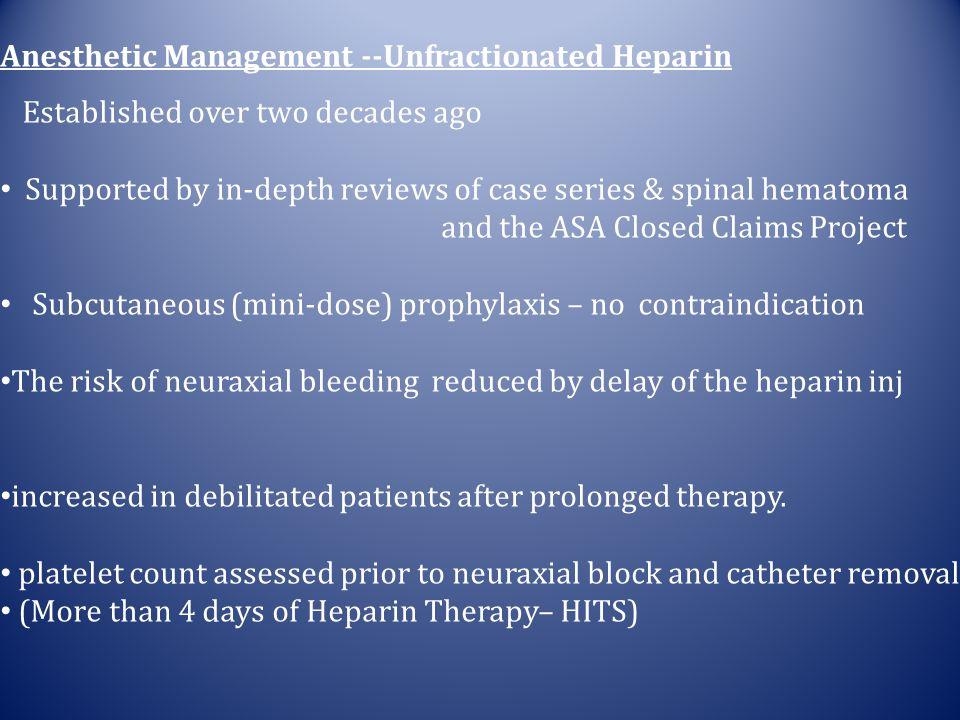 Anesthetic Management --Unfractionated Heparin