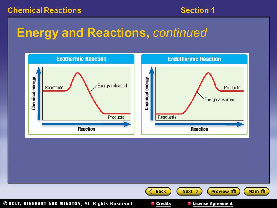 Energy and Reactions, continued