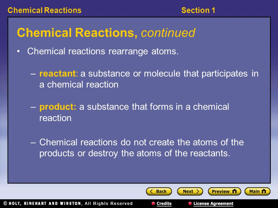 Chemical Reactions, continued