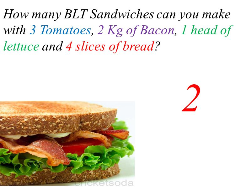 How many BLT Sandwiches can you make with 3 Tomatoes, 2 Kg of Bacon, 1 head of lettuce and 4 slices of bread
