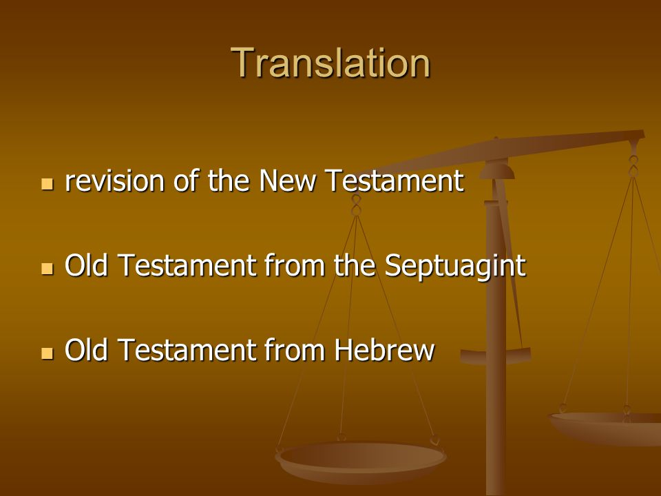 Translation revision of the New Testament