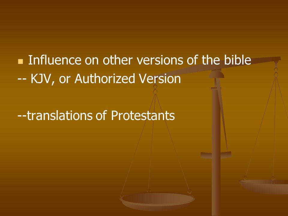 Influence on other versions of the bible