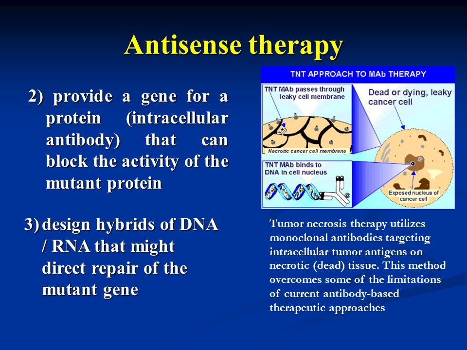 Antisense therapy 2) provide a gene for a protein (intracellular antibody) that can block the activity of the mutant protein.