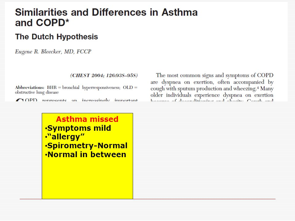 Asthma missed Symptoms mild allergy Spirometry-Normal Normal in between