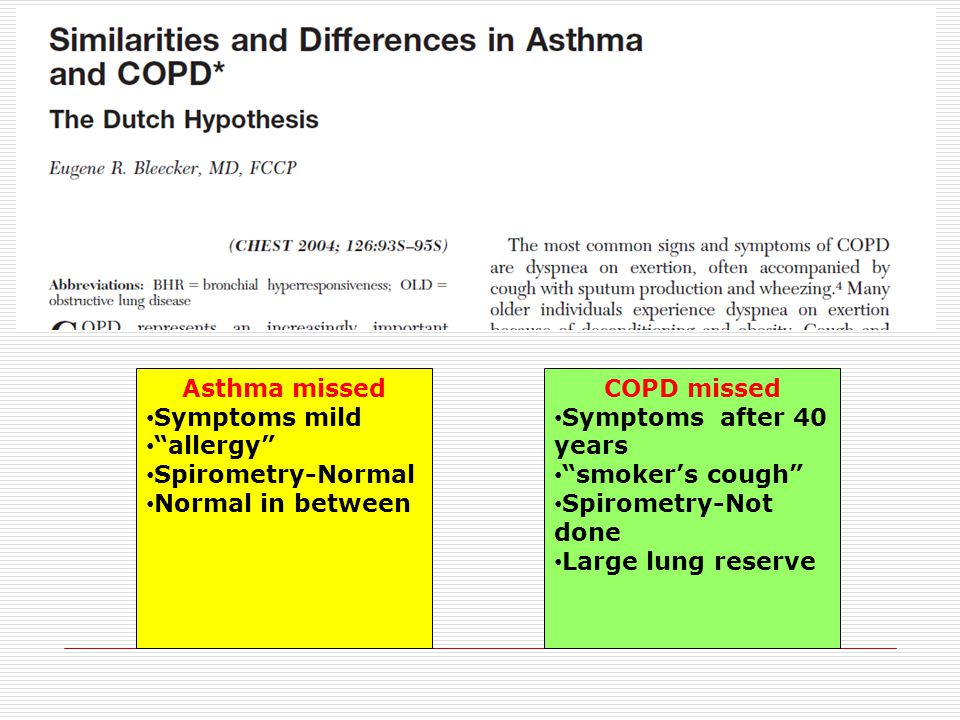 Asthma missed Symptoms mild. allergy Spirometry-Normal. Normal in between. COPD missed. Symptoms after 40 years.