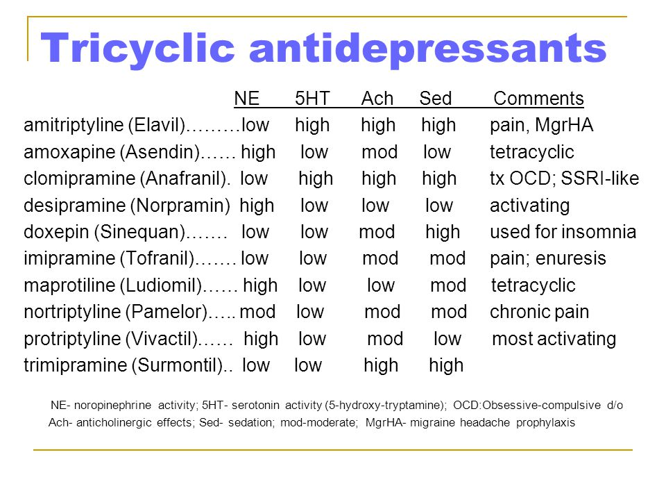 sedating ssri Hi, could some of you more knowledgable people please write a list of some of the more common antidepressants and whether they are generally known to.