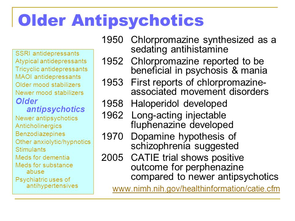 Older Antipsychotics 1950 Chlorpromazine synthesized as a sedating antihistamine.