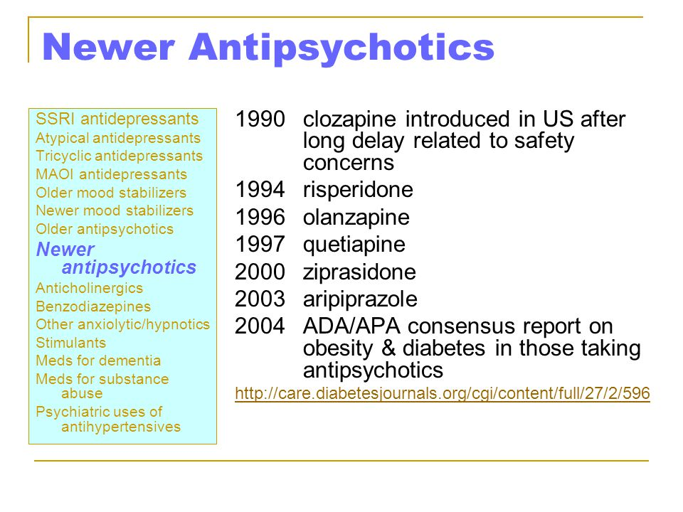 Newer Antipsychotics 1990 clozapine introduced in US after long delay related to safety concerns.