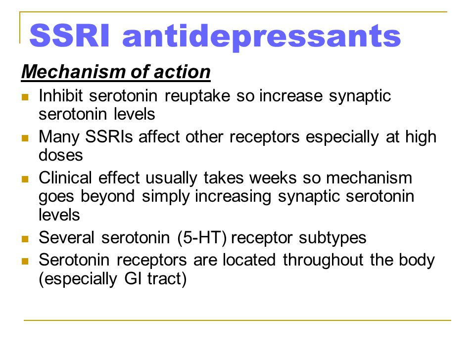SSRI antidepressants Mechanism of action