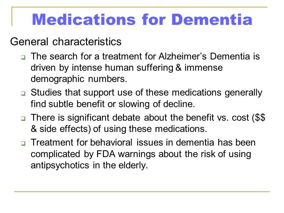 Medications for Dementia