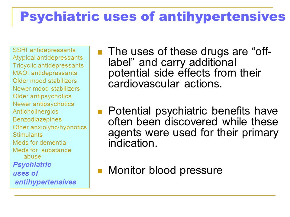 Psychiatric uses of antihypertensives