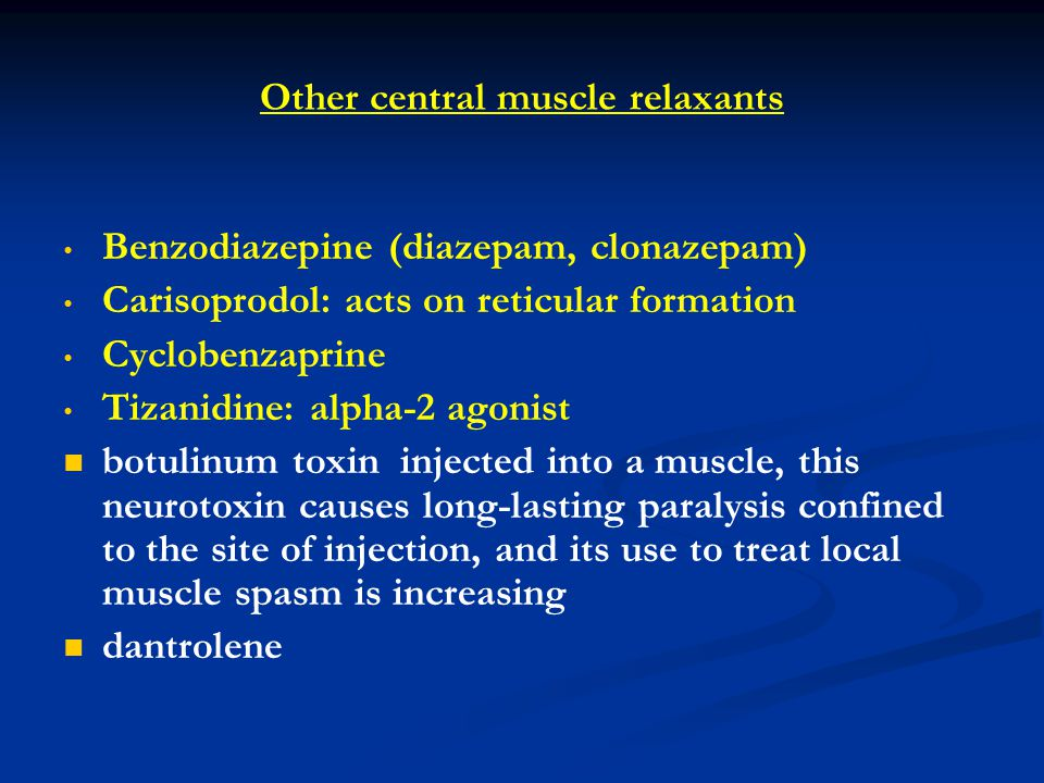 Other central muscle relaxants