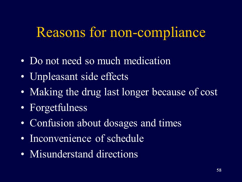Reasons for non-compliance