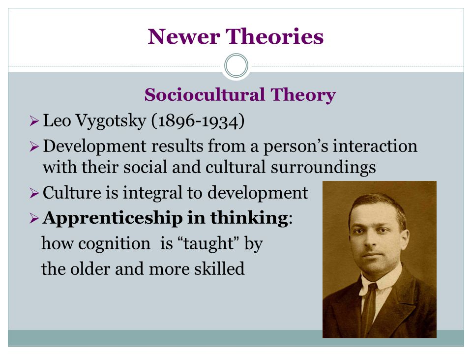 Newer Theories Sociocultural Theory Leo Vygotsky (1896-1934)