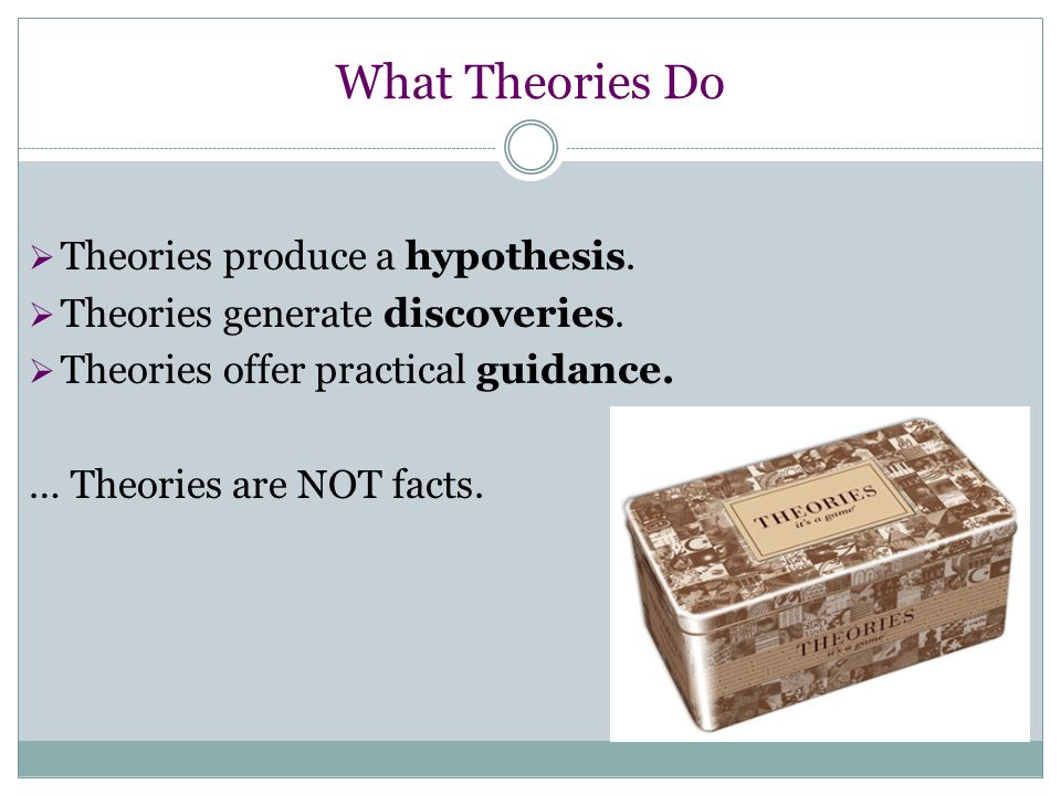 What Theories Do Theories produce a hypothesis.