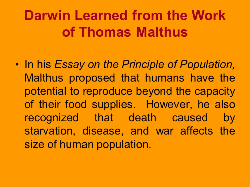 Darwin Learned from the Work of Thomas Malthus