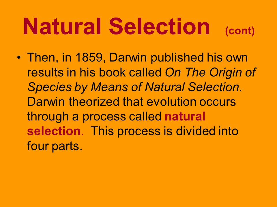 Natural Selection (cont)