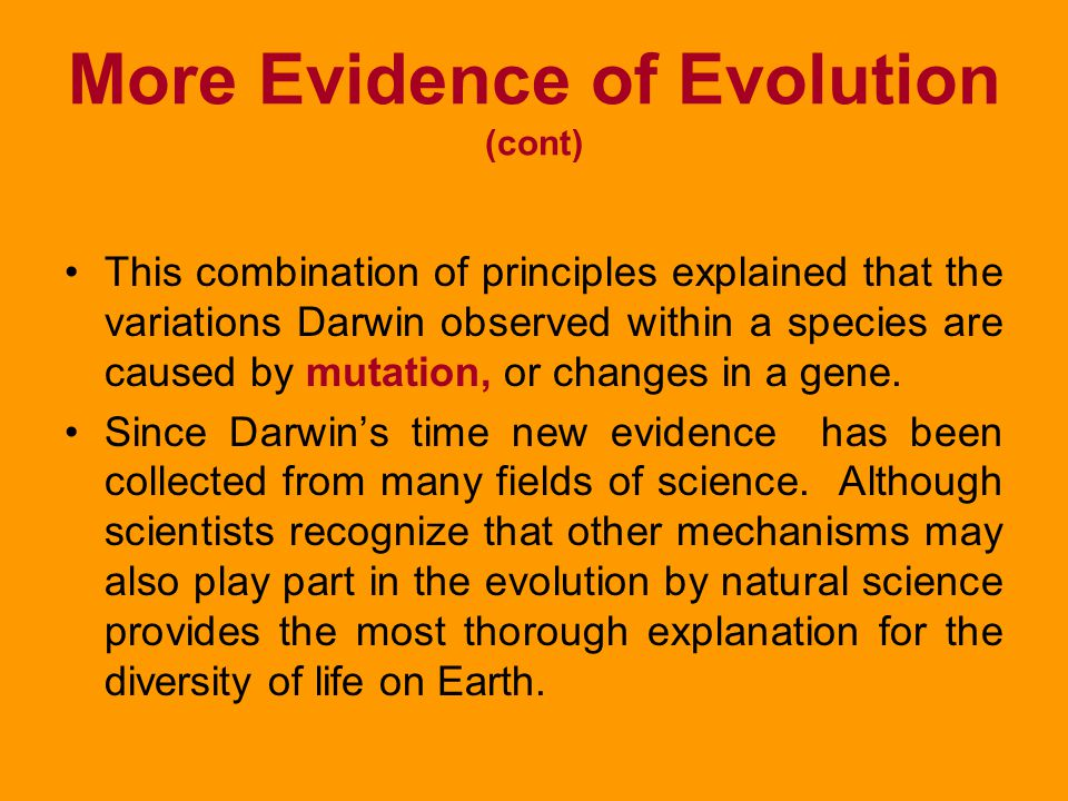 More Evidence of Evolution (cont)