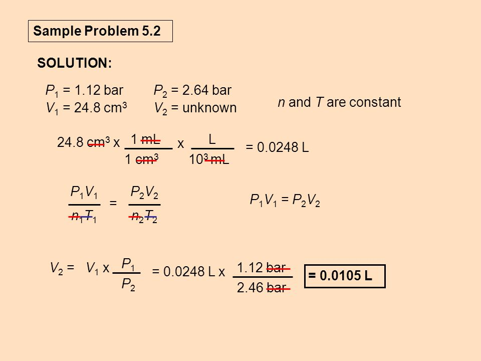 Sample Problem 5.2 SOLUTION: P1 = 1.12 bar. V1 = 24.8 cm3. P2 = 2.64 bar. V2 = unknown. n and T are constant.