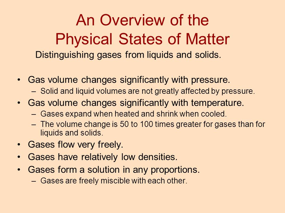 An Overview of the Physical States of Matter