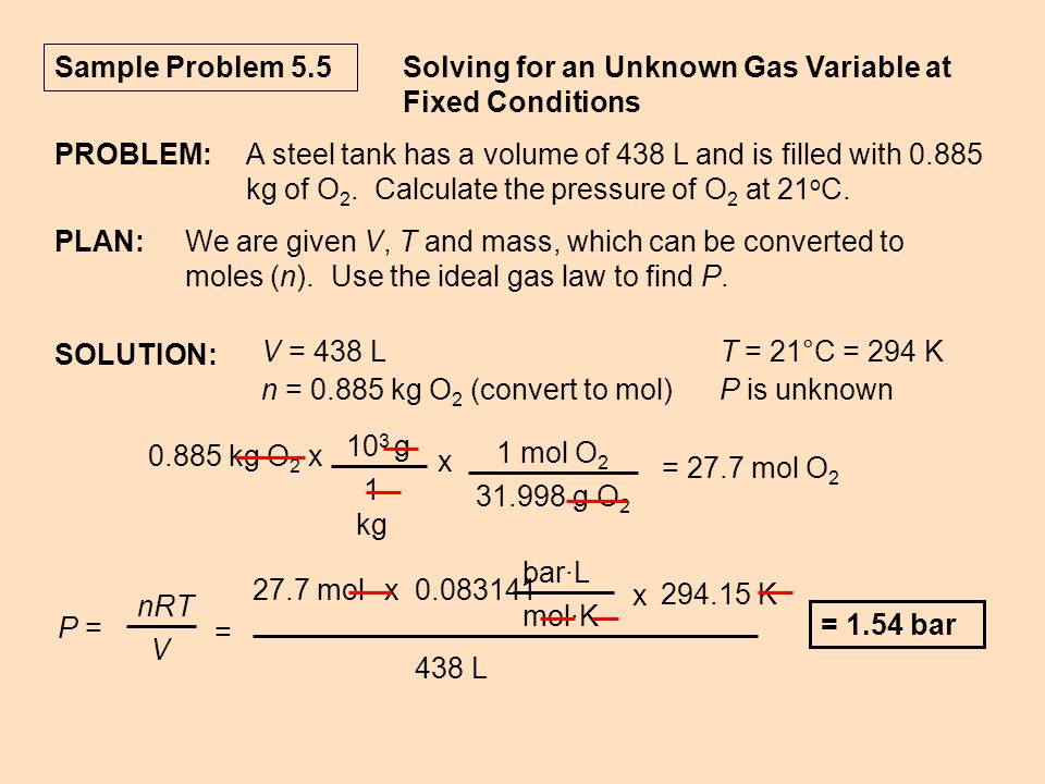 Sample Problem 5.5 Solving for an Unknown Gas Variable at Fixed Conditions. PROBLEM: