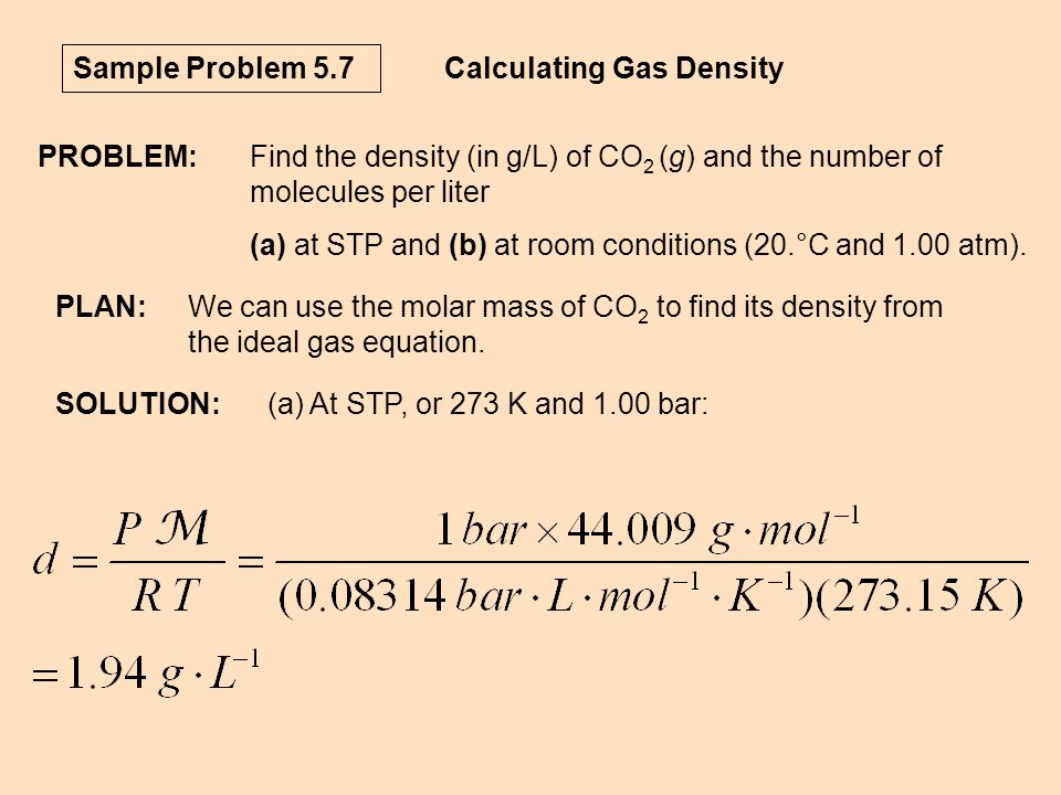 Calculating Gas Density