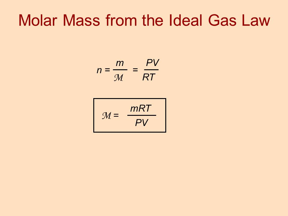 Molar Mass from the Ideal Gas Law