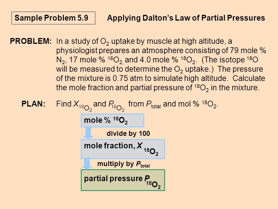 Applying Dalton's Law of Partial Pressures