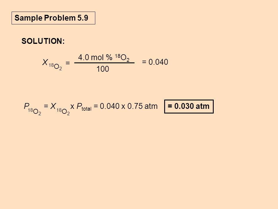 Sample Problem 5.9 SOLUTION: = 0.040 X = 4.0 mol % 18O2 100
